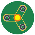 Yellow spinner with transparent center a flat style. Vector image on a round dark greenbackground. Element of design, interface