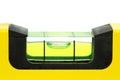 Yellow spirit level , macro image on white background. Royalty Free Stock Photo