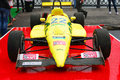 Yellow sport car at moscow city racing formula teams show in historical center of taken on july in russia Royalty Free Stock Images