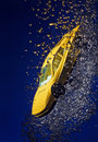 Yellow sportcar accident, going down underwater Royalty Free Stock Photo