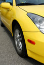 Yellow sports car Royalty Free Stock Images