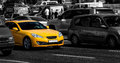 Yellow sports car in the city Royalty Free Stock Photo