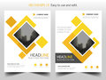 Yellow square business Brochure Leaflet Flyer annual report template design, book cover layout design, abstract presentation Royalty Free Stock Photo