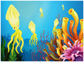 Yellow squids near the coral reefs Stock Images