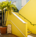 Yellow Stairs by Souvenier Stand Royalty Free Stock Photo