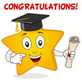 Yellow star character with graduation hat a happy cartoon and holding a diploma isolated on white background eps file available Royalty Free Stock Images