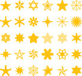 Yellow star icons icon collection or set with different shapes and designs of stars Royalty Free Stock Image