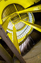Yellow steel supports looking upward Royalty Free Stock Photos