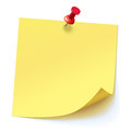 Yellow sticker pinned red pushbutton Royalty Free Stock Photo