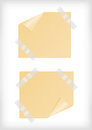 Yellow stickers with curled corner and scotch tape illustration background Stock Images