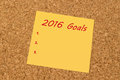 Yellow sticky note - New Year 2016 Goals list Royalty Free Stock Photo