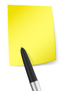 Yellow sticky note with pen blank vector illustration Stock Images