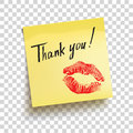 Yellow sticky note with text `I love you!`. Vector Royalty Free Stock Photo