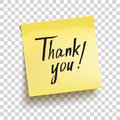 Yellow sticky note with text `Thank you!`. Vector Royalty Free Stock Photo