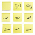 Yellow sticky papers with trendy slogans. Royalty Free Stock Photos