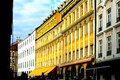 Yellow  street building facade Stock Photos