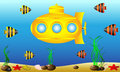 Yellow submarine under water Royalty Free Stock Photo