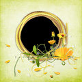 Yellow summer frame with marigold Royalty Free Stock Photo