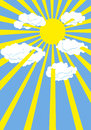 Yellow summer sun blue sky rays of sun through white clouds vector illustration Stock Image