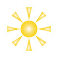 Yellow sun and eight triangular rays on white of illustrations