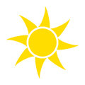 Yellow sun icon isolated on white background. Flat sunlight, sign. Vector summer symbol for website design, web