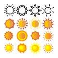Yellow Sun Icon Set Vector. Sunset Sign. Sunrise Light. Summer Heat. Orange Ray. Season Object. Shiny Climate Graphic