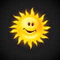 Yellow sun with smiling face eps vector illustration Royalty Free Stock Image