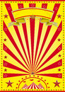 Yellow sunbeam circus a poster with red sunbeams Stock Photos