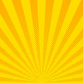 Yellow sunbeams halftone background. Vector illustration.