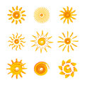 Yellow suns painted in front of an white background Stock Photos