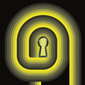 Yellow swirl way to door keyhole concept Royalty Free Stock Photography