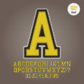 Yellow tackle twill alphabet and digit vector set of Royalty Free Stock Photos