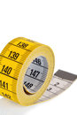 Yellow tape measure symbolic photo for diet control and precision Stock Images