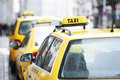 Yellow taxi cab cars Stock Photos