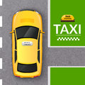 Yellow taxi cab top view banner Royalty Free Stock Photo