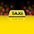 Yellow Taxi Car Roof Sign At N...