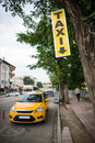 Yellow taxi parking mark Royalty Free Stock Photo
