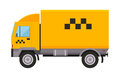 Yellow taxi truck van vector illustration car transport isolated cab city service traffic icon symbol passenger urban