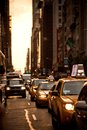 Yellow taxis rides on 5th Avenue in New York Stock Image