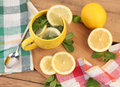 Yellow tea hot with mint and lemon Royalty Free Stock Image