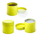 Yellow tea tin isolated white background Stock Photo