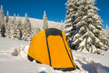 Yellow tent - close up, at alpine meadow Royalty Free Stock Photo