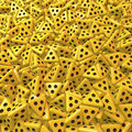 Yellow tetrahedron dice with three black eyes pool piles heap of on the sides symbol for blindness d rendering Royalty Free Stock Image