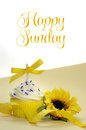 Yellow theme cupcake and sunflower with Happy Sunday Royalty Free Stock Photo