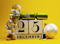 Yellow theme save the date white calendar for Christmas Day, December 25. Stock Image