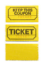 Yellow ticket and coupon isolated on white background Stock Image