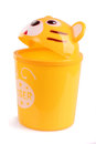 Yellow tiger trash can Royalty Free Stock Photo