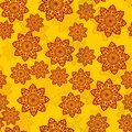 Yellow Tile With Henna Color Mandala-like flowers vector background with ornament of half-transparent mandalas.
