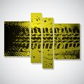 Yellow tire track background set of three grunge pictures with tracks eps Stock Photography