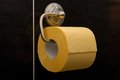 Yellow toilet paper. Stock Photos